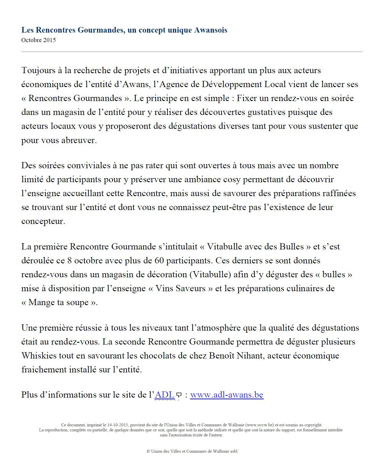 Rencontre awans