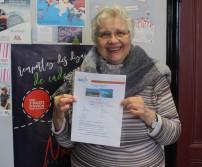 Madame Piron, gagnante des billets d'avion pour Al